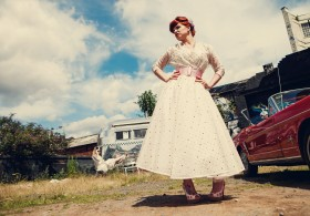 The Couture Company Alternative Bespoke Custom Made Wedding Quirky Dresses Rockabilly 1950s Tea Length Swing Vintage Lace Tattoo Tattooed Bride Petticoats Coloured Bird Swallow LeKeuxCoutureCoTravelInkAssassynation 43