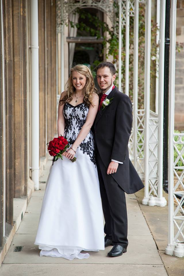 A Black And White Gothic Inspired French Lace Wedding Gown