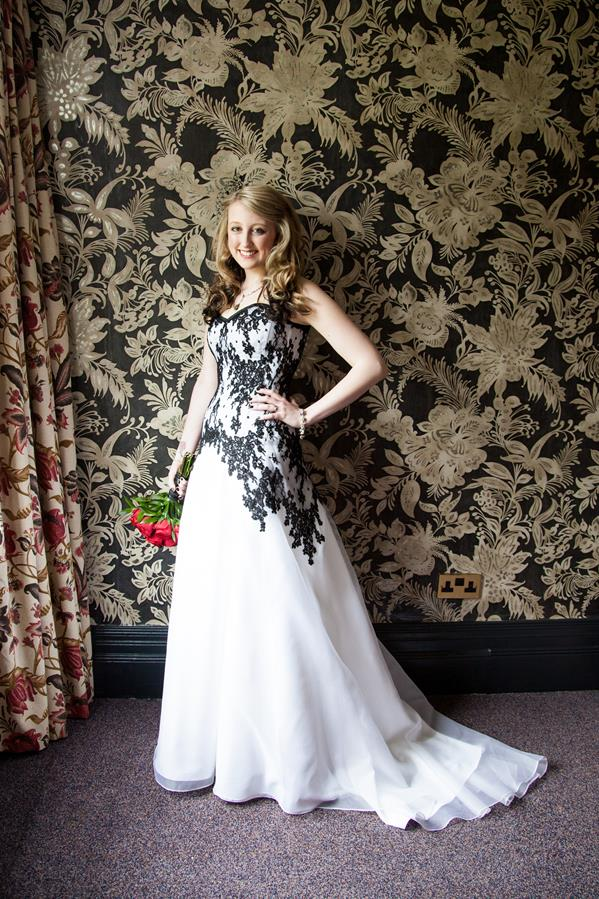 A Black and white Gothic inspired french lace wedding gown | The ...
