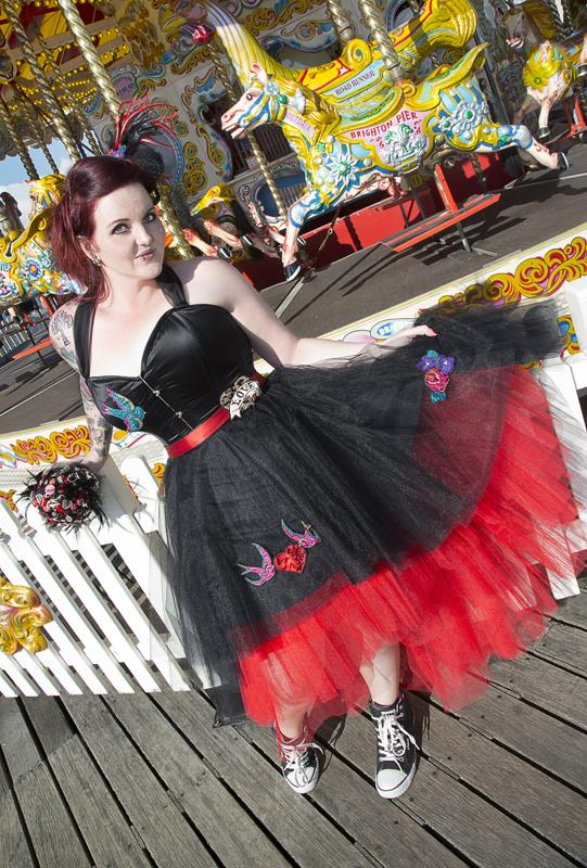 The-couture-company-alternative-bespoke-custom-made-wedding-quirky-dresses-rockabilly-1950s-tea-length-swing-vintage-lace-tattoo-tattooed-embroidered-lace-dress-bride-black-red-heart-brighton (4)