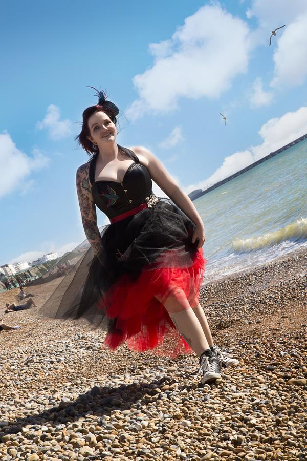 The-couture-company-alternative-bespoke-custom-made-wedding-quirky-dresses-rockabilly-1950s-tea-length-swing-vintage-lace-tattoo-tattooed-embroidered-lace-dress-bride-black-red-heart-brighton (6)