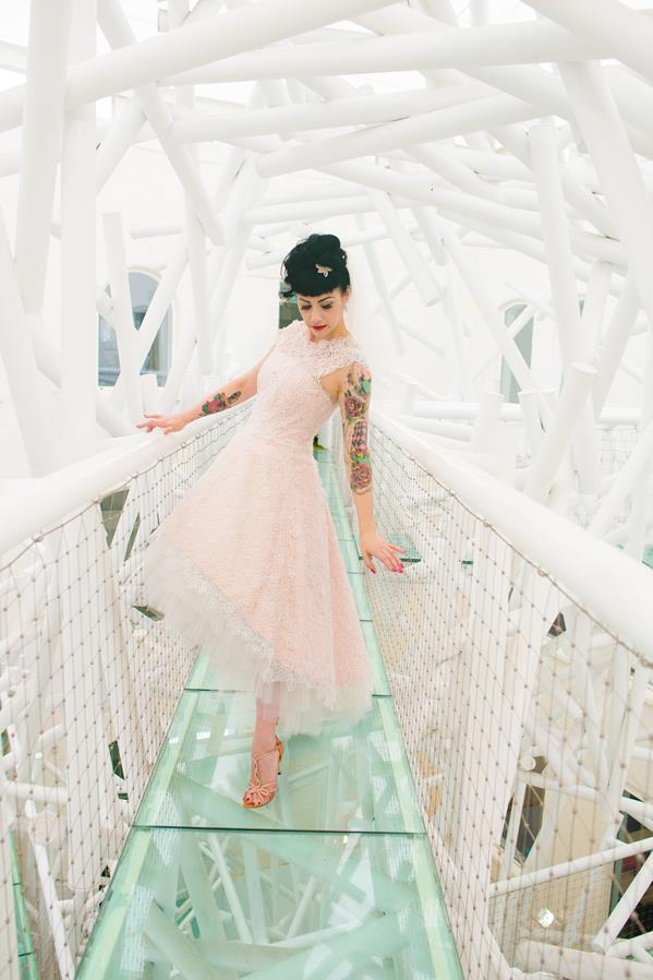 The-couture-company-alternative-bespoke-custom-made-wedding-quirky-dresses-rockabilly-1950s-tea-length-swing-vintage-lace-tattoo-tattooed-embroidered-lace-dress-bride-pink-Photo-NikkiCooper (1) (Copy)
