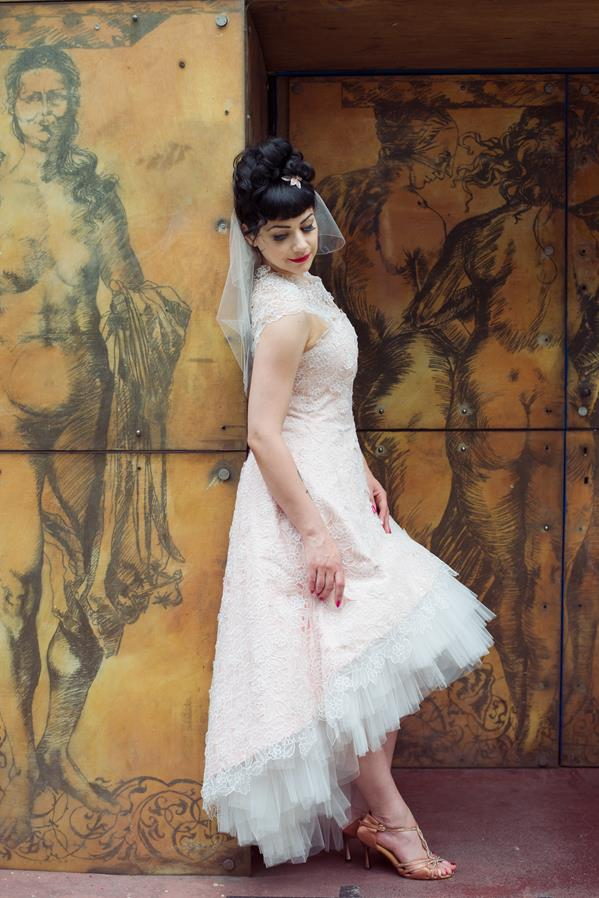 The-couture-company-alternative-bespoke-custom-made-wedding-quirky-dresses-rockabilly-1950s-tea-length-swing-vintage-lace-tattoo-tattooed-embroidered-lace-dress-bride-pink-Photo-NikkiCooper  (13) (Copy)