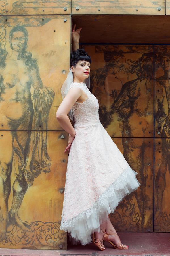 The-couture-company-alternative-bespoke-custom-made-wedding-quirky-dresses-rockabilly-1950s-tea-length-swing-vintage-lace-tattoo-tattooed-embroidered-lace-dress-bride-pink-Photo-NikkiCooper  (14) (Copy)