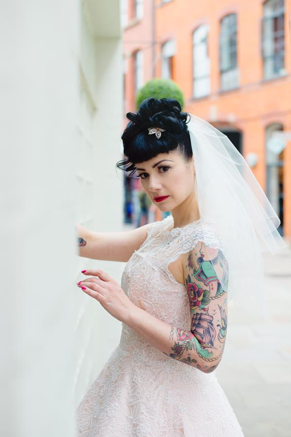 The-couture-company-alternative-bespoke-custom-made-wedding-quirky-dresses-rockabilly-1950s-tea-length-swing-vintage-lace-tattoo-tattooed-embroidered-lace-dress-bride-pink-Photo-NikkiCooper  (21) (Copy)