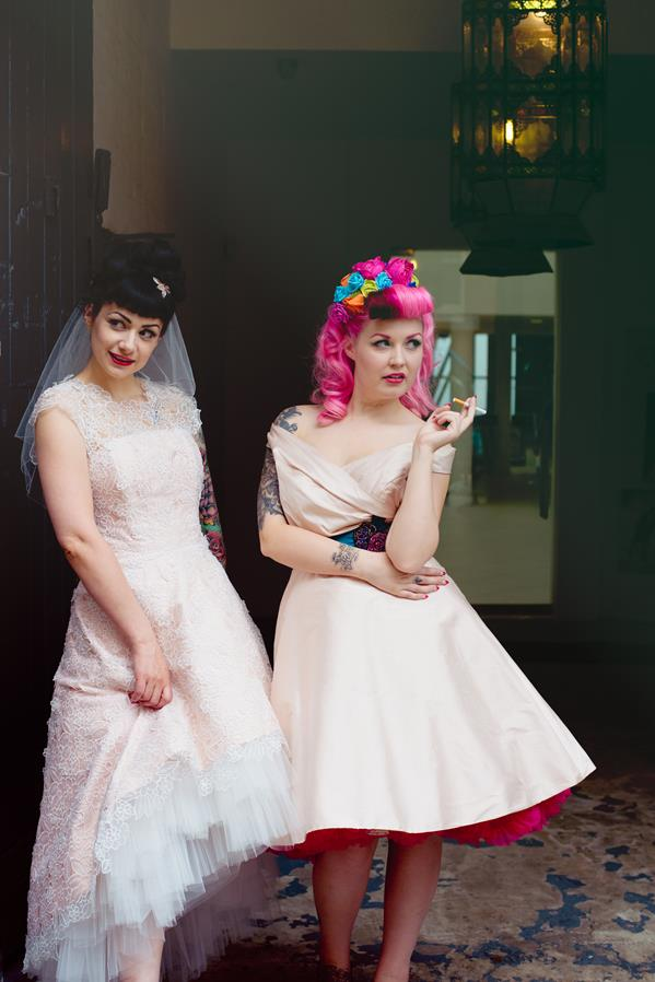 The-couture-company-alternative-bespoke-custom-made-wedding-quirky-dresses-rockabilly-1950s-tea-length-swing-vintage-lace-tattoo-tattooed-embroidered-lace-dress-bride-pink-Photo-NikkiCooper  (24) (Copy)