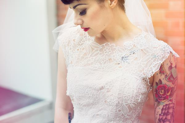 The-couture-company-alternative-bespoke-custom-made-wedding-quirky-dresses-rockabilly-1950s-tea-length-swing-vintage-lace-tattoo-tattooed-embroidered-lace-dress-bride-pink-Photo-NikkiCooper  (26) (Copy)