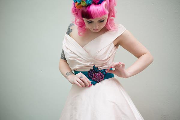 The-couture-company-alternative-bespoke-custom-made-wedding-quirky-dresses-rockabilly-1950s-tea-length-swing-vintage-lace-tattoo-tattooed-embroidered-lace-dress-bride-pink-Photo-NikkiCooper  (27) (Copy)