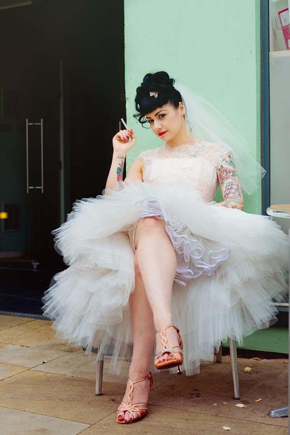 The-couture-company-alternative-bespoke-custom-made-wedding-quirky-dresses-rockabilly-1950s-tea-length-swing-vintage-lace-tattoo-tattooed-embroidered-lace-dress-bride-pink-Photo-NikkiCooper  (28) (Copy)