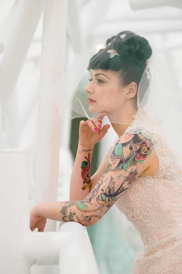 The-couture-company-alternative-bespoke-custom-made-wedding-quirky-dresses-rockabilly-1950s-tea-length-swing-vintage-lace-tattoo-tattooed-embroidered-lace-dress-bride-pink-Photo-NikkiCooper  (3) (Copy)