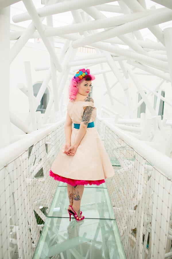 The-couture-company-alternative-bespoke-custom-made-wedding-quirky-dresses-rockabilly-1950s-tea-length-swing-vintage-lace-tattoo-tattooed-embroidered-lace-dress-bride-pink-Photo-NikkiCooper  (9) (Copy)