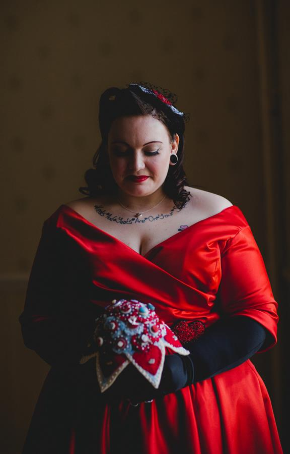 The-couture-company-alternative-bespoke-custom-made-wedding-quirky-dresses-rockabilly-1950s-tea-length-swing-vintage-lace-tattoo-tattooed-red-vegan-dress-bride-PhotoByToastofLeeds (6) (Copy)