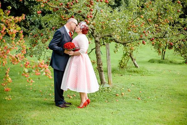 Julia's 1950's Inspired Polka Dot Wedding Dress With A