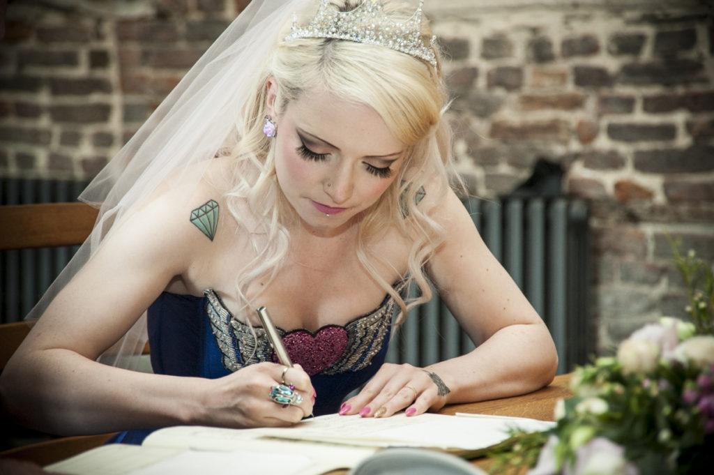 Alternative Wedding Dress S Birmingham : Couture company alternative bespoke blue tattoo tattooed wedding dress