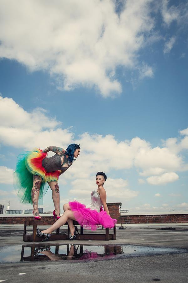 the-couture-company-alternative-bespoke-unusual-crazy-wedding-dress-coloured-colourful-hot-pink-rainbow-tattoo-corset-assassynation (8)