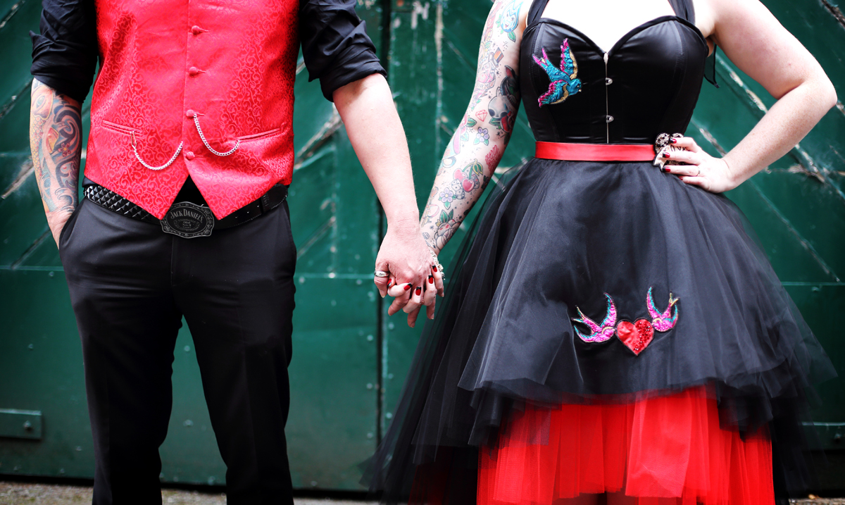 The Couture Company Alternative Bespoke Wedding Dresses Andunusual Quirky Custom Made Black Red Corset Tattoos Bridal Gown Joc 29