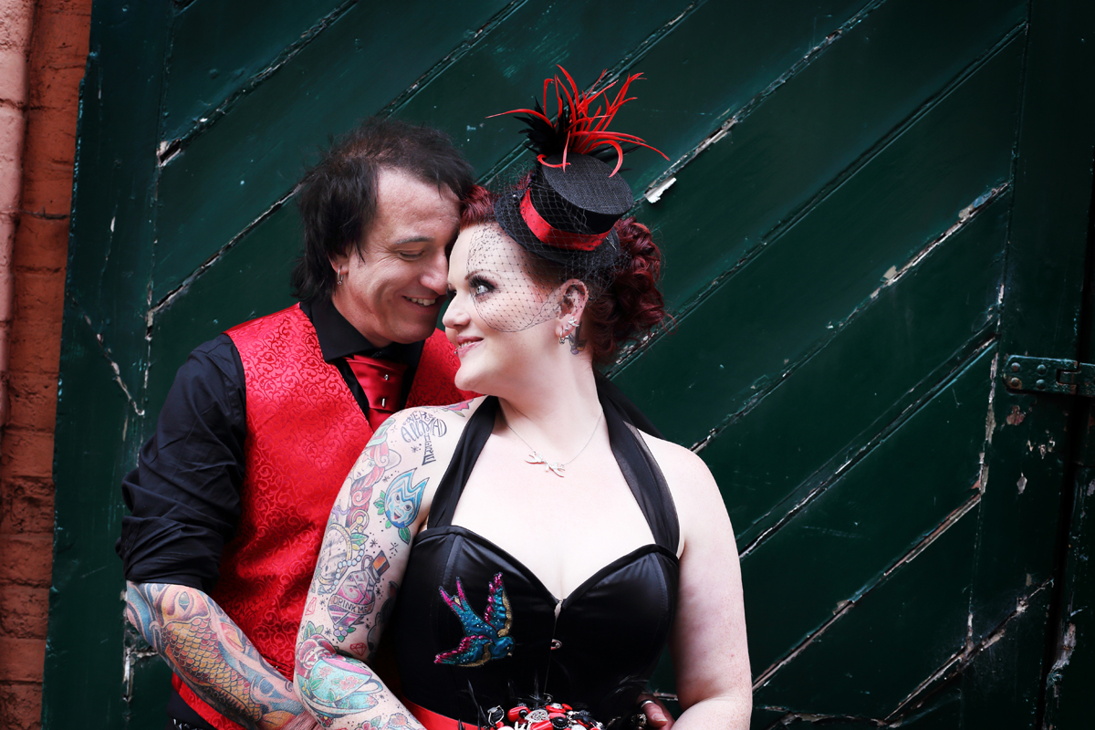 The Couture Company Alternative Bespoke Wedding Dresses And Unusual Quirky Custom Made Black Red Corset Tattoos Bridal Dress Burlesque Gothic JoC 30